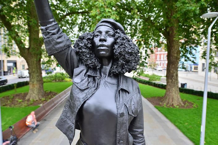 A Surge of Power (Jen Reid) 2020, by prominent British sculptor Marc Quinn, which has been installed in Bristol on the site of the fallen statue of the slave trader Edward Colston.