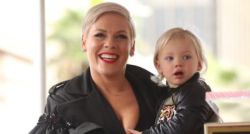 Singer Pink and her son Jameson are on the mend after testing positive for COVID-19. (Photo by Michael Tran/FilmMagic)
