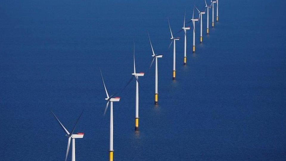 The Walney Extension offshore wind farm operated by Orsted off the coast of Blackpool