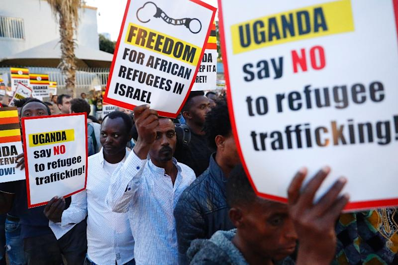 African migrants and Israelis demonstrated in Tel Aviv on April 9 against the Israeli government's deportation plans