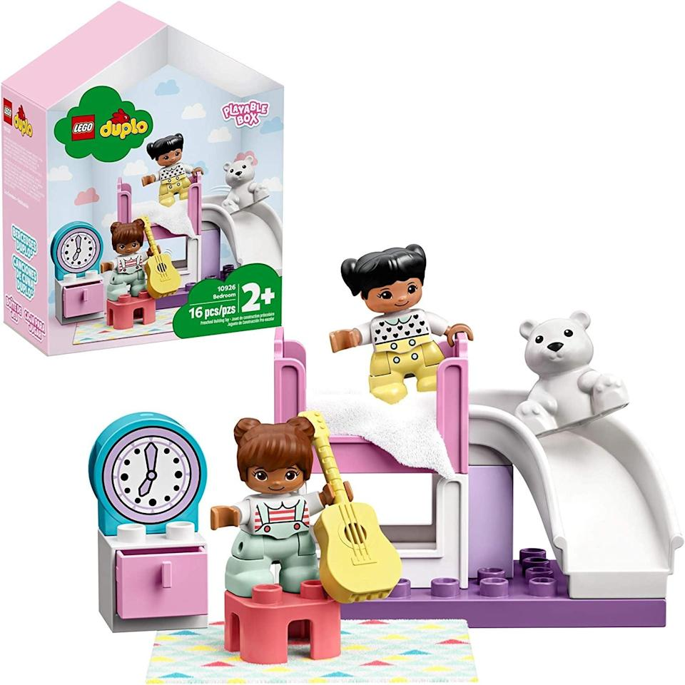 "<p>The <a href=""https://www.popsugar.com/buy/Lego-Duplo-Bedroom-551152?p_name=Lego%20Duplo%20Bedroom&retailer=amazon.com&pid=551152&price=15&evar1=moms%3Aus&evar9=47243673&evar98=https%3A%2F%2Fwww.popsugar.com%2Ffamily%2Fphoto-gallery%2F47243673%2Fimage%2F47243715%2FLego-Duplo-Bedroom&list1=toys%2Ctoy%20fair%2Ckid%20shopping%2Ckids%20toys&prop13=api&pdata=1"" class=""link rapid-noclick-resp"" rel=""nofollow noopener"" target=""_blank"" data-ylk=""slk:Lego Duplo Bedroom"">Lego Duplo Bedroom</a> ($15) has 16 pieces and is best suited for toddlers ages 2 years and up.</p>"