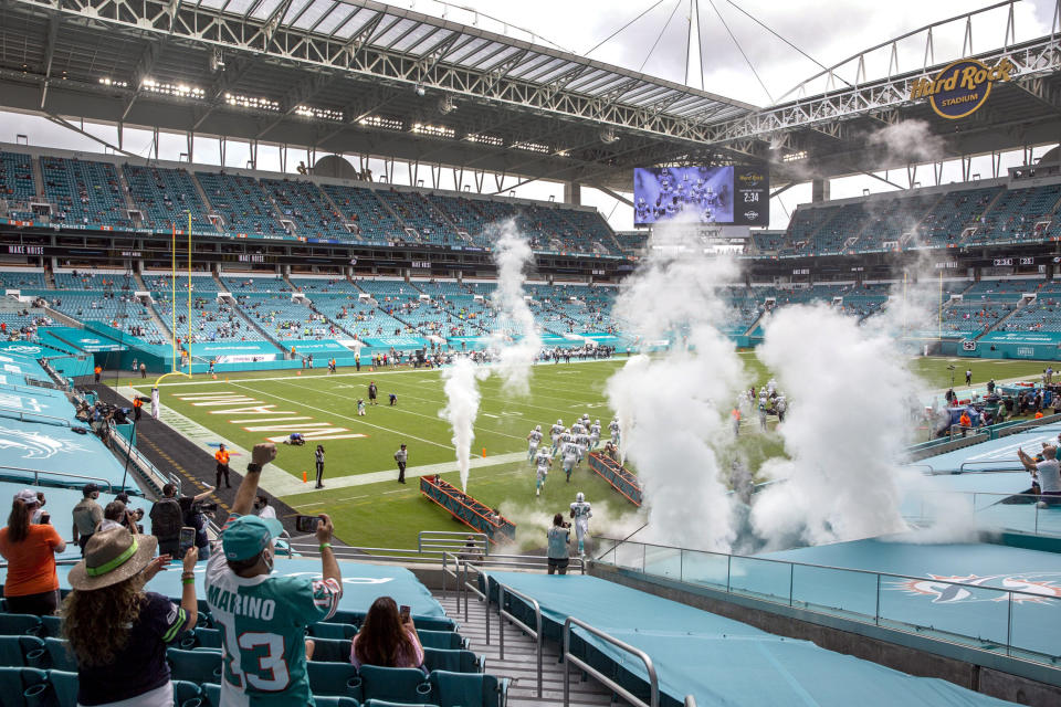 Hard Rock Stadium will continue to have limited fans, the Dolphins said. (Al Diaz/Miami Herald/Tribune News Service via Getty Images)