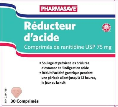 Acid Reducer (ranitidine) sold under the brand name Pharmasave (CNW Group/Health Canada)