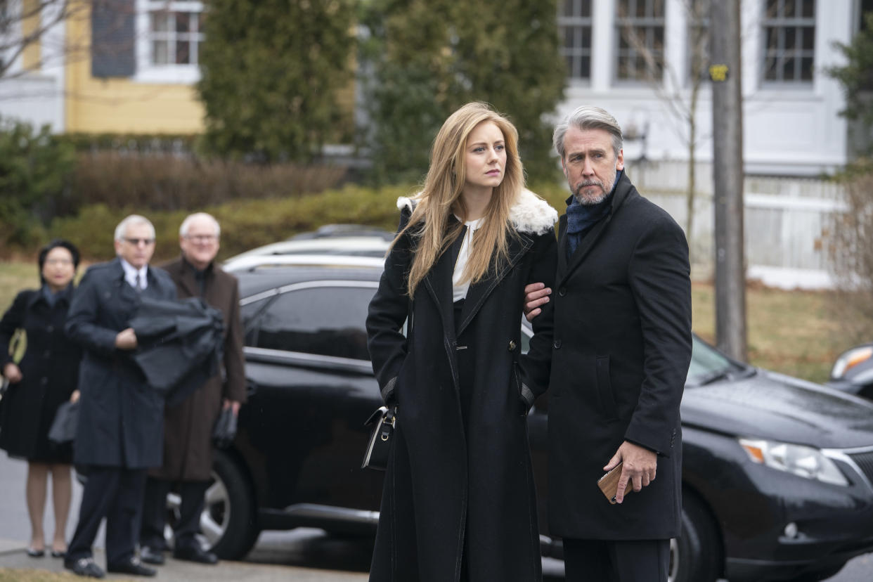 Justine Lupe and Alan Ruck in Succession (Sky)
