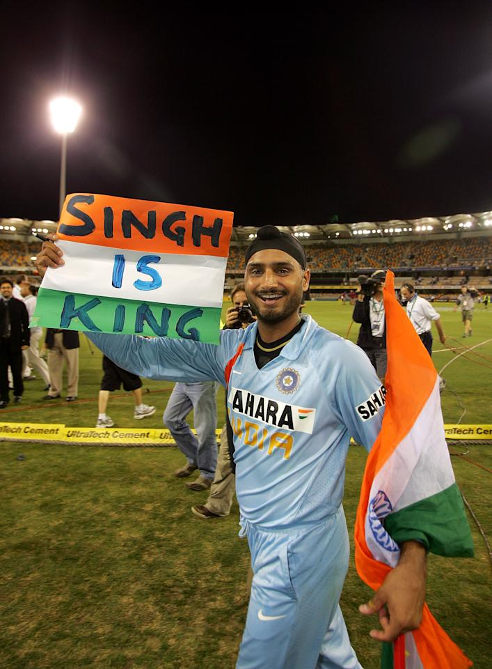 BRISBANE, AUSTRALIA - MARCH 04:  Harbhajan Singh of Indian celebrates after winning the Commonwealth Bank Series One Day International second final match between Australia and India at the Gabba on March 4, 2008 in Brisbane, Australia.  (Photo by Ezra Shaw/Getty Images)
