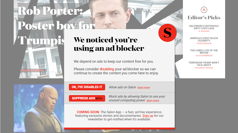 US news site gives readers a choice: Disable your ad blocker or let us mine cryptocurrency