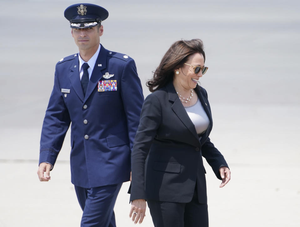 Vice President Kamala Harris boards Air Force Two as United States Air Force Lt. Col. Neil Senkowski walks behind her, as she leaves Andrews Air Force Base, Md., Sunday, June 6, 2021, en route to Guatemala City. (AP Photo/Jacquelyn Martin)