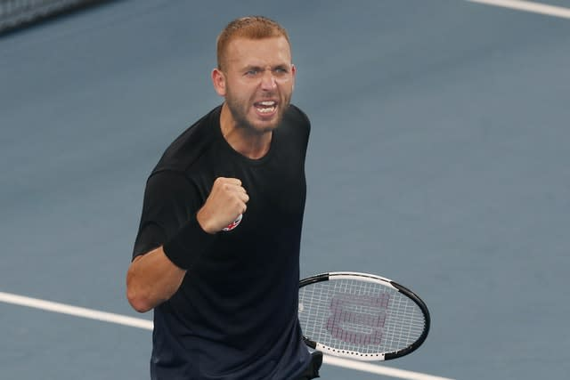 Dan Evans celebrated victory over Alex De Minaur at the ATP Cup (Steve Christo/AP)