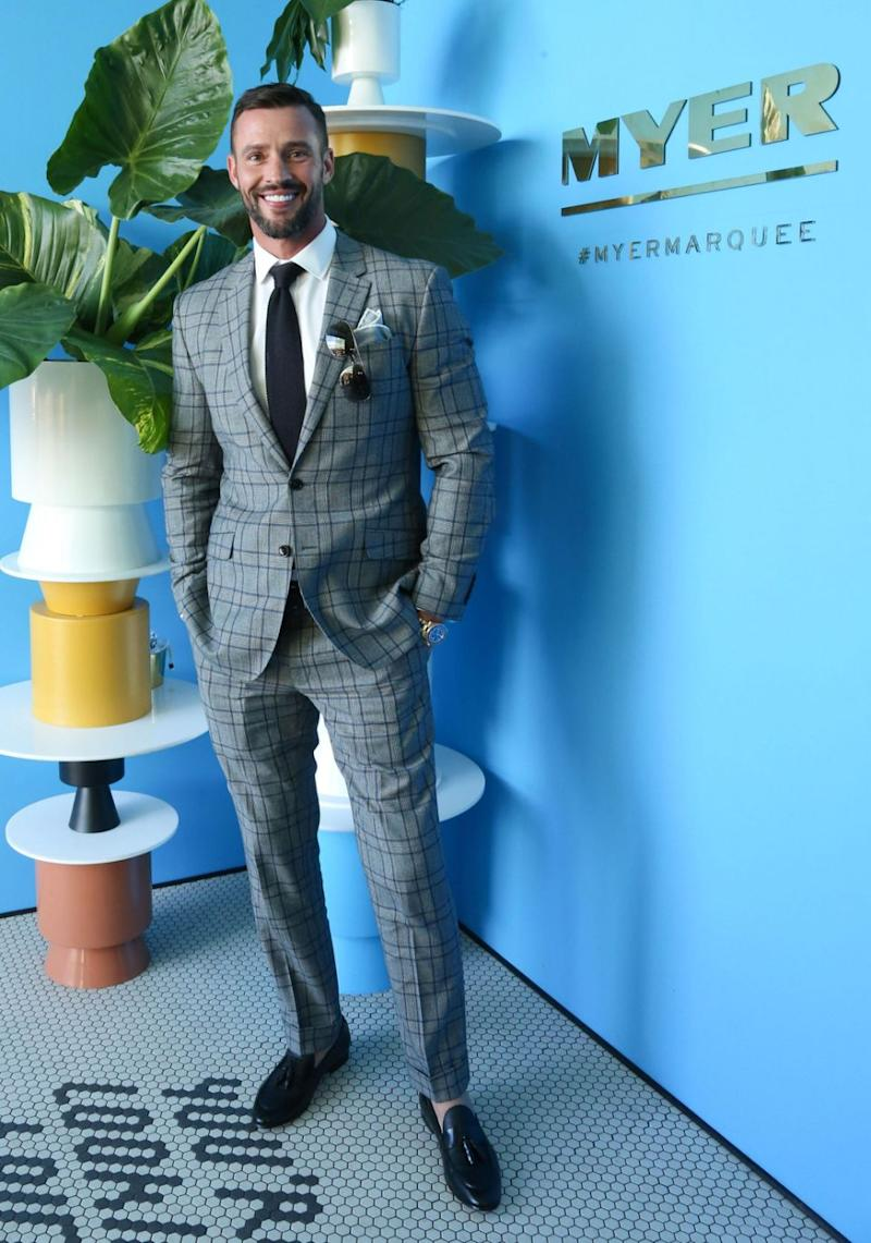 Model Kris Smith says he won't be the next Bachelor star - Kris pictured at 2017 Derby Day on Saturday. Source: Lucas Dawson