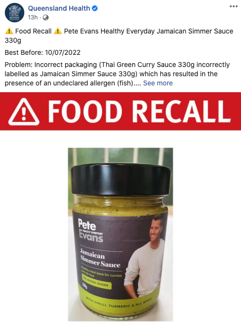 Pete Evans' simmer sauce has been recalled due to incorrect packaging. Photo: Facebook/QueenslandHealth.
