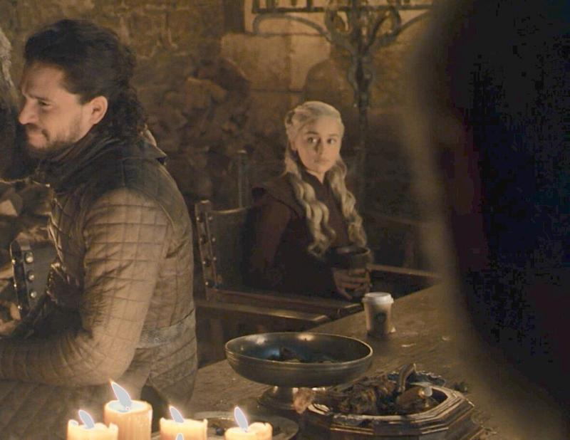 The return of the hand comes just one week after a Starbucks-like coffee cup was spotted within arms-reach of Daenerys. Photo: HBO