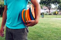 """<p>If you love throwing a frisbee, don't want to spend a fortune on a <a href=""""https://www.bestproducts.com/fitness/equipment/g1543/golf-club-sets/"""" rel=""""nofollow noopener"""" target=""""_blank"""" data-ylk=""""slk:set of golf clubs"""" class=""""link rapid-noclick-resp"""">set of golf clubs</a> and greens fees, or simply enjoy walking around in the sunshine, consider disc golf as your new sport. Also known as """"frolf,"""" all you need for this sport are three discs, a good pair of <a href=""""https://www.bestproducts.com/fitness/clothing/g426/walking-shoes-for-women/"""" rel=""""nofollow noopener"""" target=""""_blank"""" data-ylk=""""slk:walking shoes"""" class=""""link rapid-noclick-resp"""">walking shoes</a>, and an itch to spend time outside. For well under $100, you'll be well on your way to some fun in the sun. </p><h3 class=""""body-h3"""">What To Consider</h3><p>The equipment for this sport is called either a disc, a disc golf disc, or a frolf disc — literally anything but a Frisbee. They come in various weights, sizes, and colors. Most disc golf sets come in sets of three, which include a driver, a midrange disc, and a putter. Drivers are long-distance discs that have the ability to fly further at higher speeds but with less control than other midrange discs. Midrange discs are more rounded, fly slower, and are easier to control. Putters are even more rounded, fly even slower and straighter, and are thus easiest to land in and around the basket for your final shot(s) of the hole.<br><br>While the technology of disc golf sets has improved slightly over the years, they haven't changed much. The concept remains the same — thinner and heavier flies faster, rounded and lighter is easier to control. I recommend a three-disc set for beginners, which you can continue adding to over time if you find you enjoy the sport as much as I do.<br></p><h3 class=""""body-h3"""">How We Chose</h3><p>As an avid frolf lover myself, I've thrown quite a few discs over the years. I started playing disc golf in high school (over 20 years ago) and s"""