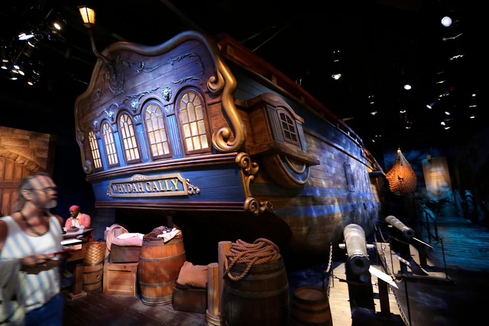 A life-size replica of the hull of the pirate ship Whydah Gally is displayed at the Whydah Pirate Museum, in Yarmouth, Mass. (Photo: ASSOCIATED PRESS)