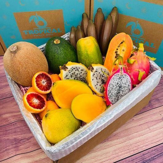 """<p>tropicalfruitbox.com</p><p><strong>$99.00</strong></p><p><a href=""""https://tropicalfruitbox.com/collections/tropical-fruit-boxes-1/products/tropical-fruit-box?variant=20182109487192"""" rel=""""nofollow noopener"""" target=""""_blank"""" data-ylk=""""slk:BUY NOW"""" class=""""link rapid-noclick-resp"""">BUY NOW</a></p><p>For a box that takes you straight to an island vacation, this box includes tropical fruits like papaya, dragon fruit, mangos, and red bananas. Tropical Fruit Box also offers a subscription service so you can count on tropical fruit being delivered to your door every month.</p>"""