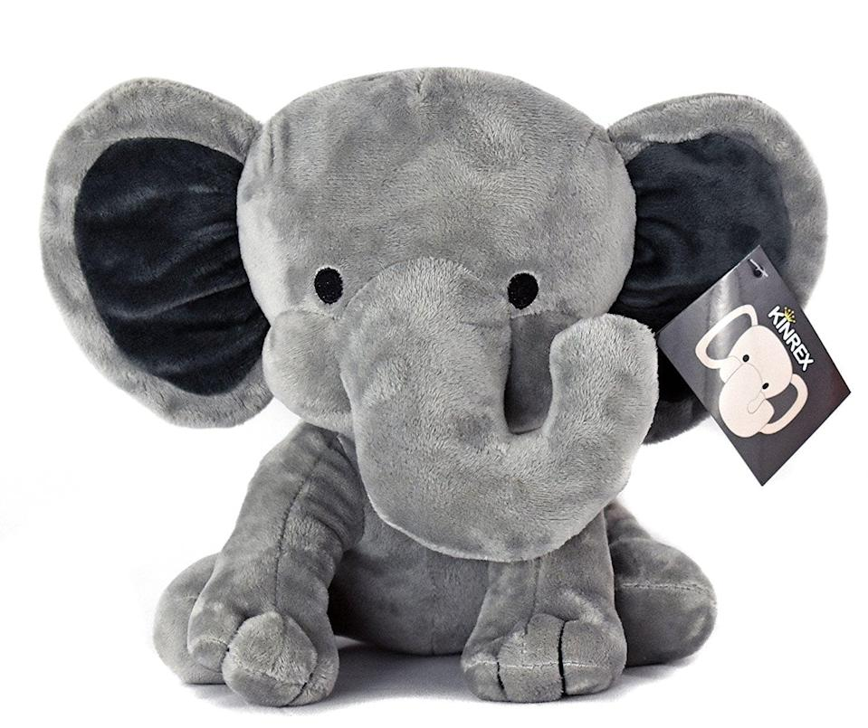 "<p>This bestselling <a href=""https://www.popsugar.com/buy/Kinrex-Elephant-Plush-328445?p_name=Kinrex%20Elephant%20Plush&retailer=amazon.com&pid=328445&price=11&evar1=moms%3Aus&evar9=25800161&evar98=https%3A%2F%2Fwww.popsugar.com%2Fphoto-gallery%2F25800161%2Fimage%2F44870050%2FKinrex-Elephant-Plush&list1=gifts%2Camazon%2Choliday%2Ctoys%2Cgift%20guide%2Cparenting%2Cbabies%2Cgifts%20for%20kids%2Ckid%20shopping%2Choliday%20living%2Choliday%20for%20kids%2Cgifts%20for%20toddlers%2Cbest%20of%202019&prop13=api&pdata=1"" class=""link rapid-noclick-resp"" rel=""nofollow noopener"" target=""_blank"" data-ylk=""slk:Kinrex Elephant Plush"">Kinrex Elephant Plush</a> ($11) is incredibly soft.</p>"