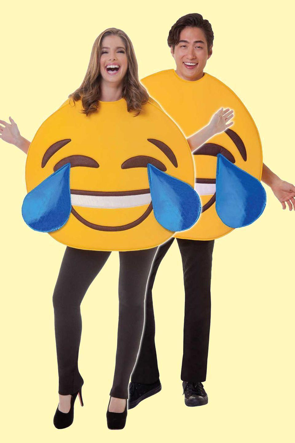 """<p>You text each other emojis all day long. With this costume, you can both be a """"Face With Tears of Joy"""" a.k.a. your most used emoji.</p><p> <a class=""""link rapid-noclick-resp"""" href=""""https://go.redirectingat.com?id=74968X1596630&url=https%3A%2F%2Fwww.spirithalloween.com%2Fproduct%2Flol-emoji-mask%2F151490.uts&sref=https%3A%2F%2Fwww.goodhousekeeping.com%2Fholidays%2Fhalloween-ideas%2Fg2625%2Fhalloween-costumes-for-couples%2F"""" rel=""""nofollow noopener"""" target=""""_blank"""" data-ylk=""""slk:SHOP EMOJI MASKS"""">SHOP EMOJI MASKS</a></p>"""