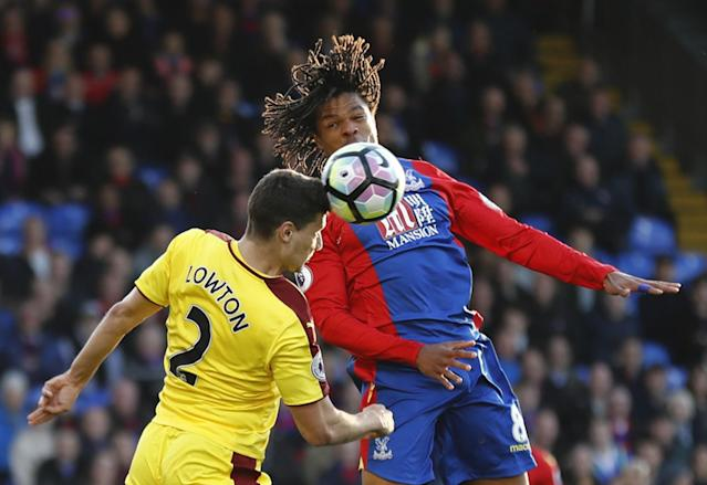 <p>Crystal Palace's Loic Remy in action with Burnley's Matthew Lowton </p>