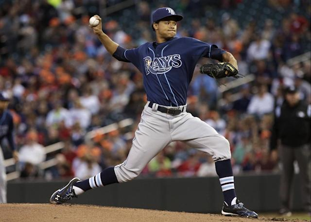 Tampa Bay Rays pitcher Chris Archer throws against the Minnesota Twins in the first inning of a baseball game, Friday, Sept. 13, 2013, in Minneapolis. (AP Photo/Jim Mone)