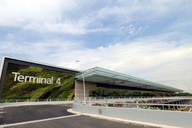 The greenwall on the facade of Changi Airport Terminal 4 consists of over 16,000 plants. (Photo: Changi Airport Group)