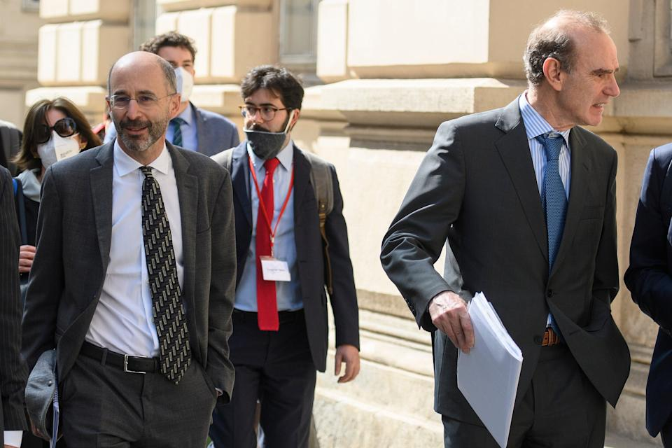Reasons to be cheerful? Robert Malley, US Special Envoy for Iran, (L) on the way to talks in Vienna (EPA)