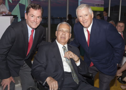 From left: Jay Hooley (chairman, president and CEO of State Street), Mayor Menino and Jack Connors, ...