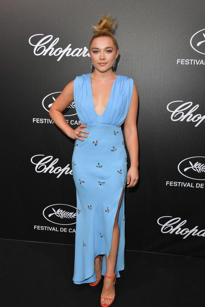 <p>Pugh wore an embellished blue dress to the The Chopard Trophy event, May 2019. </p>
