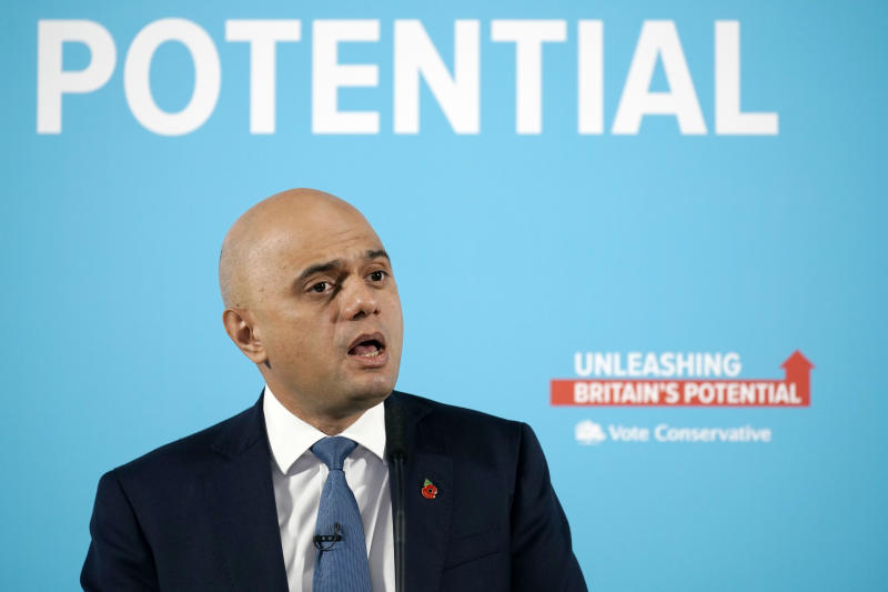 MANCHESTER, ENGLAND - NOVEMBER 07: Sajid Javid delivers a speech on the Conservative Party's plans for the economy on November 7, 2019 in Manchester, England. Sajid Javid, who holds the government position of Chancellor of the Exchequer in Boris Johnson's Cabinet, set out the Conservative party's plans to invest in priorities such as education, technology, and infrastructure as the engines of growth over the next decade. (Photo by Christopher Furlong/Getty Images)