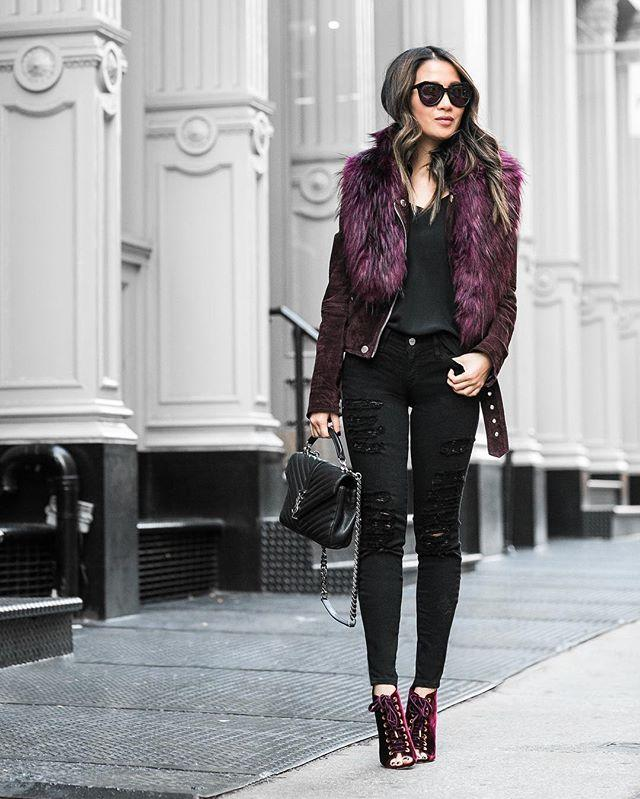 <p><strong>Styling Takeaway: </strong><strong></strong>Double up on merlot accent hues by mixing different textures like velvet, suede and fur. </p>