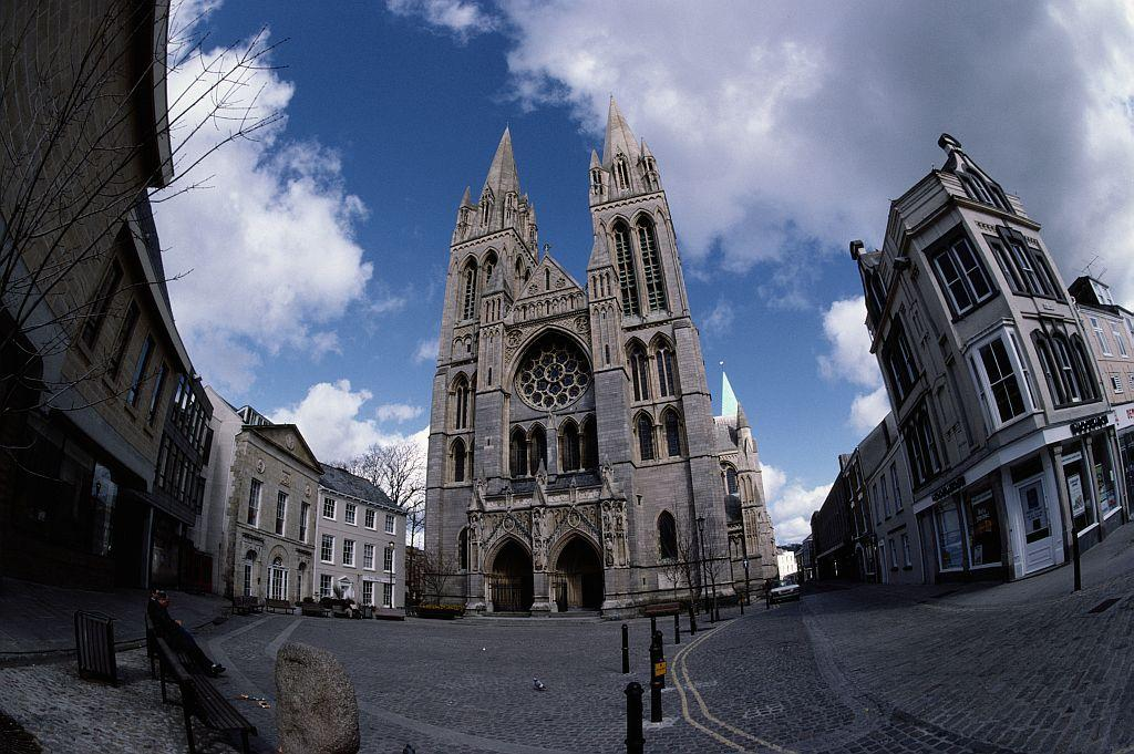 A general view of Truro's gothic revival cathedral which was designed by architect John Loughborough Pearson and completed in 1910 in Truro, Cornwall, United Kingdom.