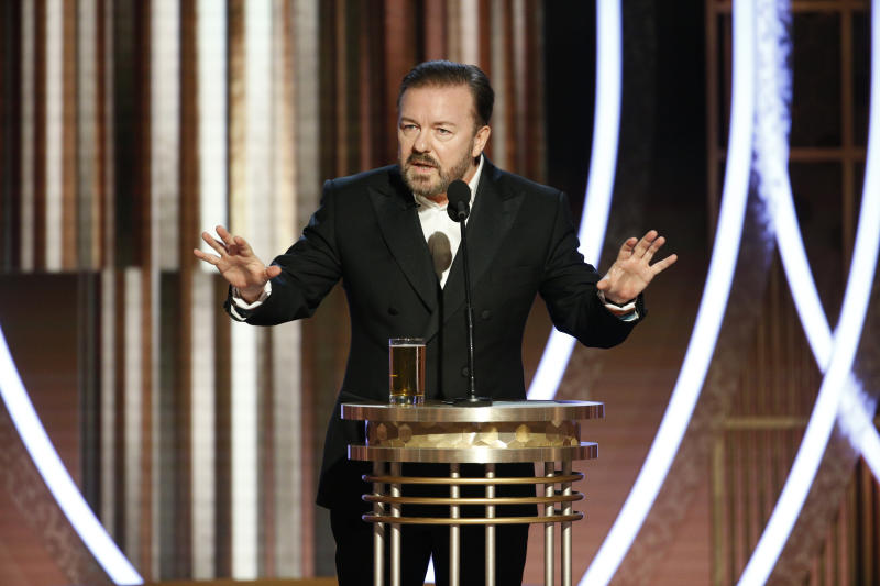 BEVERLY HILLS, CALIFORNIA - JANUARY 04: In this handout photo provided by NBCUniversal Media, LLC, host Ricky Gervais speaks onstage during the 76th Annual Golden Globe Awards at The Beverly Hilton Hotel on January 5, 2020 in Beverly Hills, California. (Photo by Paul Drinkwater/NBCUniversal Media, LLC via Getty Images)
