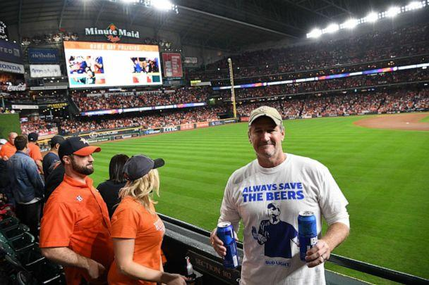 PHOTO: The Bud Light guys poses for a photo during Game 6 of the World Series on Oct. 29, 2019 in Houston, Texas. (Loren Elliott/MLB Photos via Getty Images)