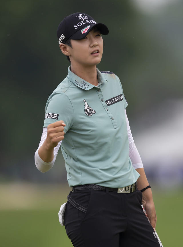 Sung Hyun Park, of South Korea, pumps her fist after sinking a birdie on the 18th hole during the final round of the KPMG Women's PGA Championship golf tournament, Sunday, June 23, 2019, in Chaska, Minn. (AP Photo/Andy Clayton-King)