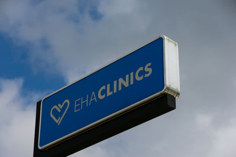 The signage of EHA clinics is seen in Abuja