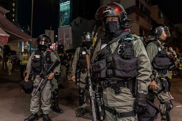 PHOTO: Riot police secure an area after protesters gathered on a street on Nov. 21, 2019, in Hong Kong. (Anthony Kwan/Getty Images)