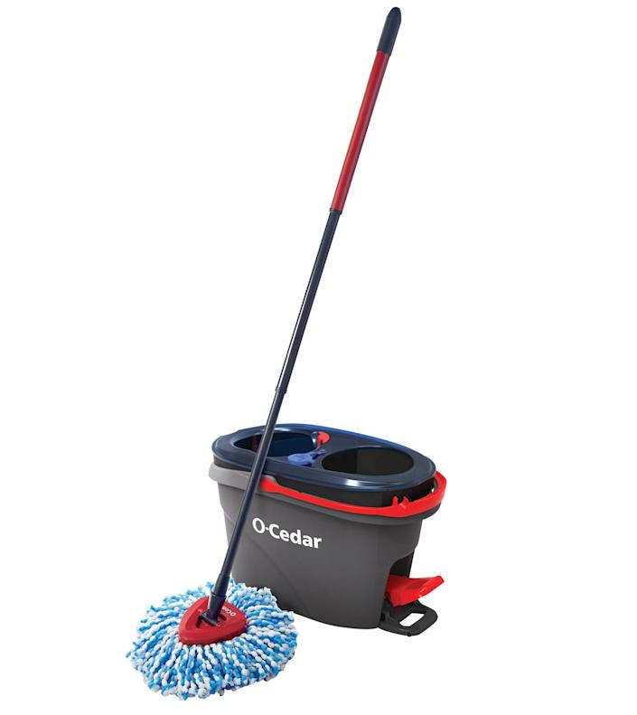 """<p>The bucket's pedal-operated spinner wrings out the mop, no elbow grease required. </p> <p><strong>Buy it!</strong> $45; <a href=""""https://goto.target.com/c/249354/81938/2092?subId1=PEOIntroducingPEOPLEsProductsWorththeHypein2021khogan1271StyGal12821774202107I&u=https%3A%2F%2Fwww.target.com%2Fp%2Fo-cedar-easywring-spin-mop-and-bucket-system%2F-%2FA-50335649"""" rel=""""sponsored noopener"""" target=""""_blank"""" data-ylk=""""slk:target.com"""" class=""""link rapid-noclick-resp"""">target.com</a></p>"""