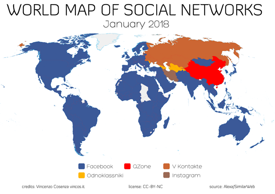 World Map of Social Networks by Vincenzo Cosenza.