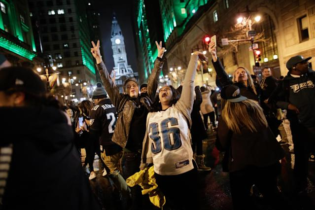 Philadelphia Eagles fans celebrates their victory in Super Bowl LII against the New England Patriots on February 4, 2018 in Philadelphia, Pennsylvania..(Photo by Eduardo Munoz Alvarez/Getty Images)