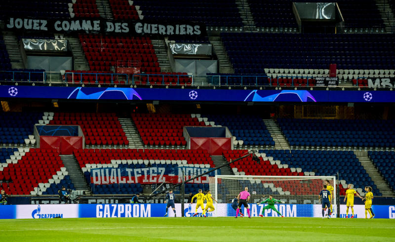 PARIS, FRANCE - MARCH 11: General view inside the stadium during the UEFA Champions League round of 16 second leg match between Paris Saint-Germain and Borussia Dortmund at Parc des Princes on March 11, 2020 in Paris, France. The match is played behind closed doors as a precaution against the spread of COVID-19 (Coronavirus). (Photo by Alexandre Simoes/Borussia Dortmund via Getty Images)