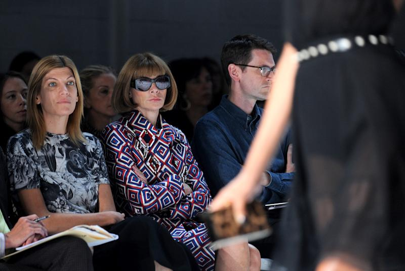 Anna Wintour attends the Jason Wu spring 2013 show, Friday, Sept. 7, 2012 in New York. (Photo by Diane Bondareff/Invision/AP Images)