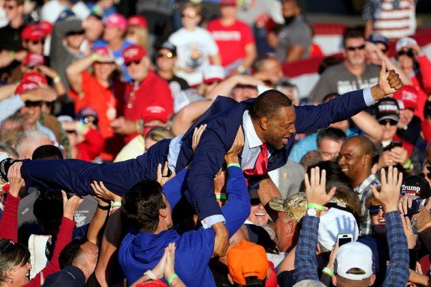 Georgia state Rep. Vernon Jones crowd-surfed during a campaign rally for President Donald Trump at Middle Georgia Regional Airport in Macon, Georgia.