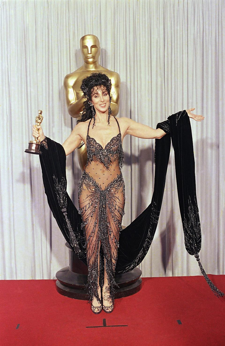 """Cher at the 1988 Academy Awards, where she won the best actress Oscar for """"Moonstruck."""""""