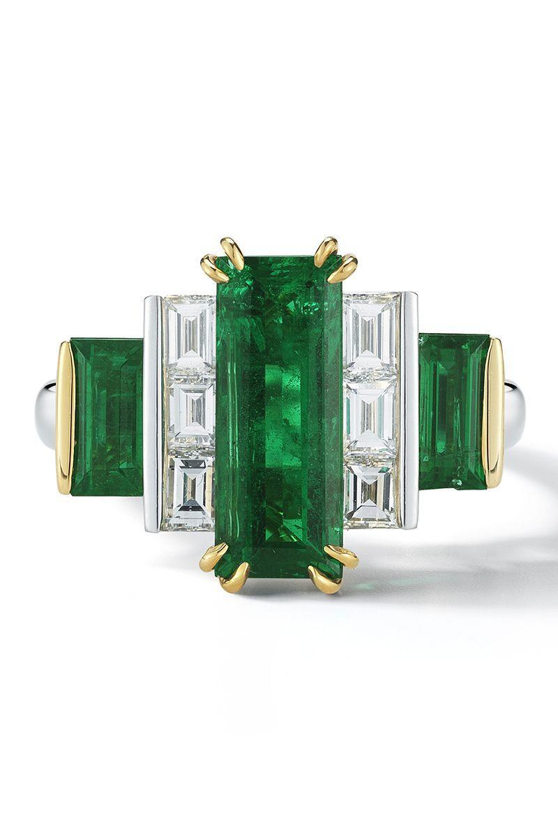 "<p><em><strong>Oscar Heyman</strong> Baguette Emerald and Diamond Ring, price upon request, <a href=""https://www.oscarheyman.com/fine-jewelry/"" rel=""nofollow noopener"" target=""_blank"" data-ylk=""slk:oscarheyman.com"" class=""link rapid-noclick-resp"">oscarheyman.com</a></em></p><p><a class=""link rapid-noclick-resp"" href=""https://www.oscarheyman.com/fine-jewelry/"" rel=""nofollow noopener"" target=""_blank"" data-ylk=""slk:SHOP"">SHOP</a></p>"