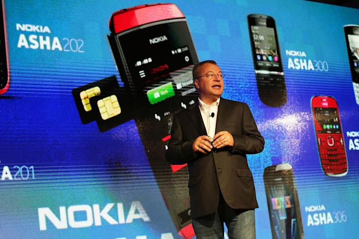 Former Nokia CEO Stephen Elop introduces a new phone at an event in New York.