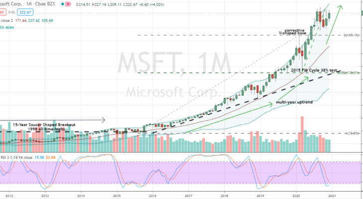 Microsoft (MSFT) monthly chart 'W' base looking very supportive for buyers