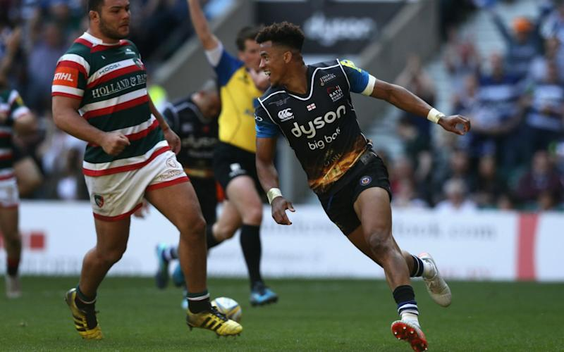 Anthony Watson celebrates scoring for Bath - Getty Images Europe