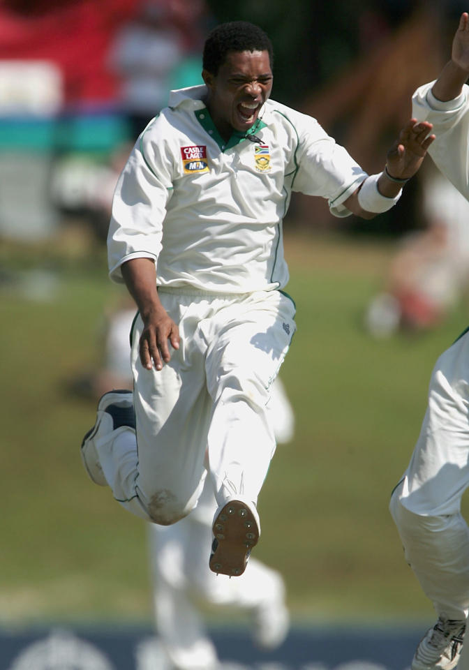 PRETORIA, SOUTH AFRICA - JANUARY 25: Makhaya Ntini of South Africa celebrates taking the wicket of Andrew Strauss of England during day 5 of the Fifth Test between South Africa and England on January 25 2005 at Centurion Cricket Ground,  Pretoria, South Africa  (Photo by Tom Shaw/Getty Images)