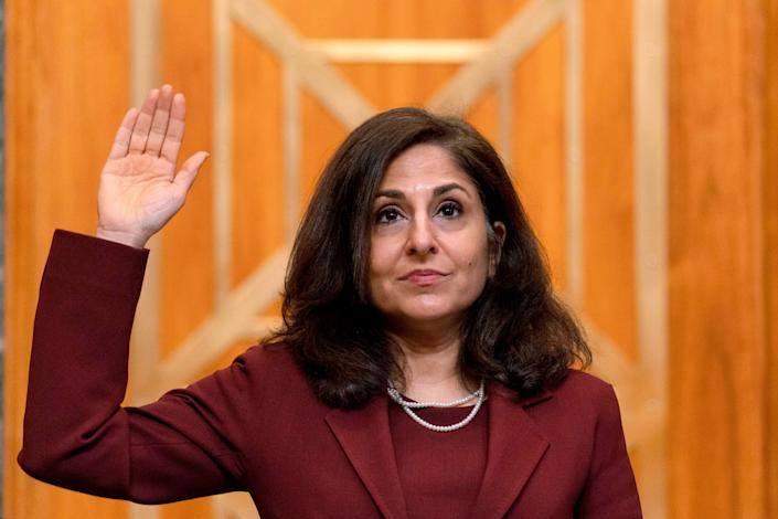Neera Tanden, nominee for director of the Office of Management and Budget, is sworn in before she testifies Feb. 10 before a Senate committee. (Photo: ANDREW HARNIK/POOL/AFP via Getty Images)