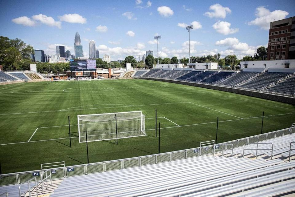 The new American Legion Memorial Stadium, seen on Wednesday, June 23, 2021, will debut July 7 with a pro soccer match between the Charlotte Independence and and New York Red Bulls II. Fireworks will follow the match.