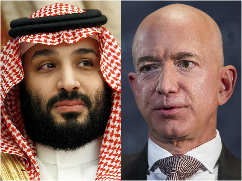 """This combination of file photos shows Saudi Arabia's Crown Prince Mohammed bin Salman in Jeddah, Saudi Arabia, on June 24, 2019 and Jeff Bezos, Amazon founder and CEO, in Washington, on Sept. 13, 2018. Two U.N. experts this week called for the U.S. to investigate a likely hack of Bezos' phone that could have involved Saudi Arabian Crown Prince Mohammed bin Salman. A commissioned forensic report found with """"medium to high confidence"""" that Bezos' phone was compromised by a video MP4 file he received from the prince in May 2018. (AP Photo)"""