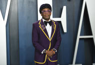 FILE - Spike Lee arrives at the Vanity Fair Oscar Party in Beverly Hills, Calif. on Feb. 9, 2020. Lee will serve as jury president at this year's Cannes Film Festival running July 6-17 — two months later than its usual May perch. (Photo by Evan Agostini/Invision/AP, File)